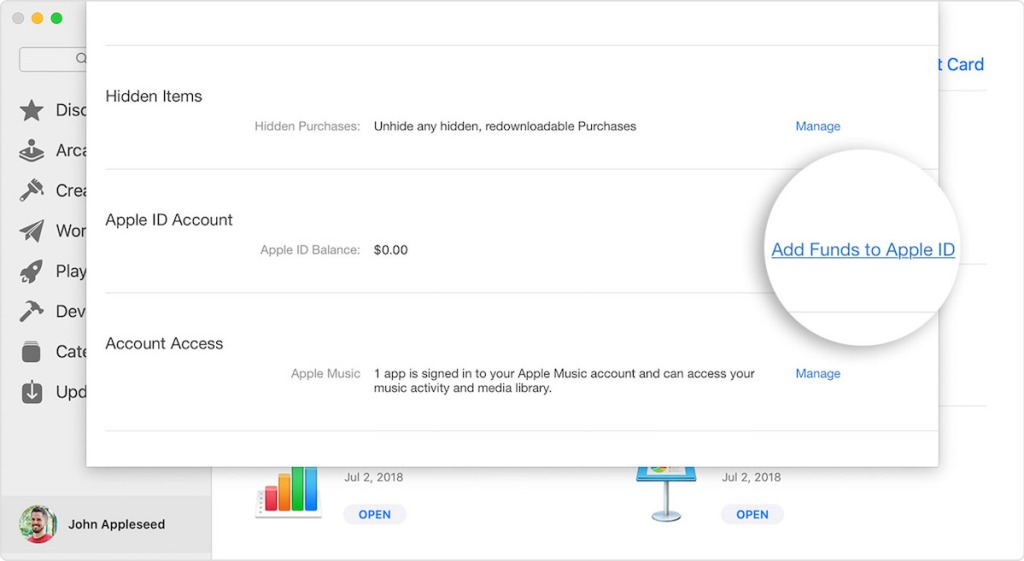 screenshot of account info on a mac