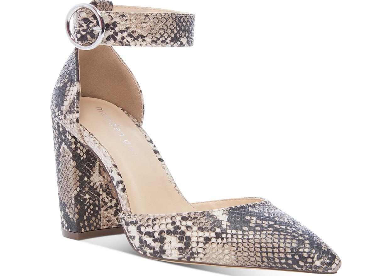 snake print womens block heel sandal with pointed toe