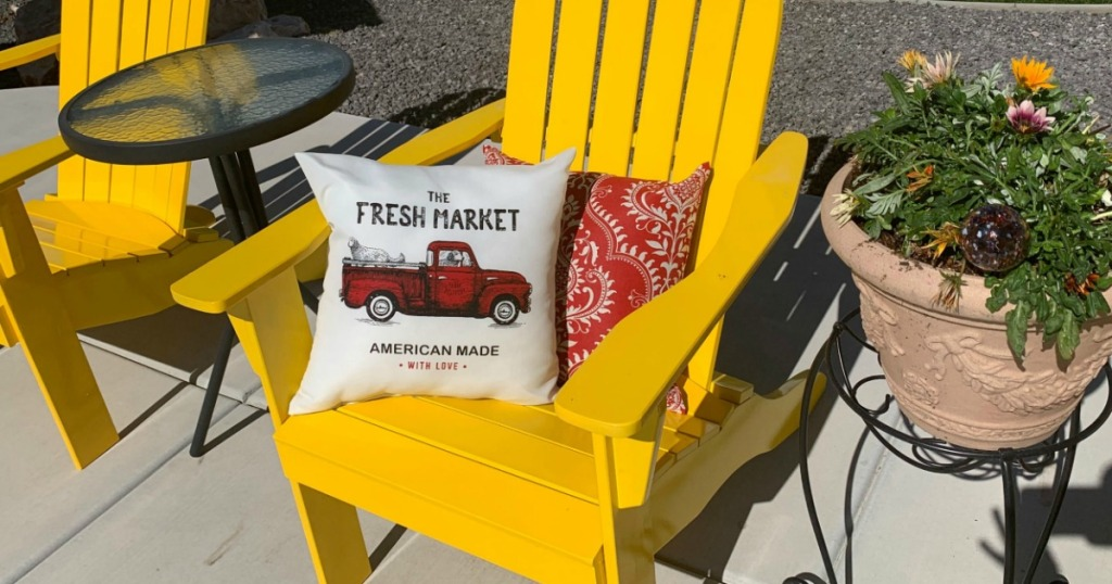 Mainstays Outdoors Pillows in yellow chair