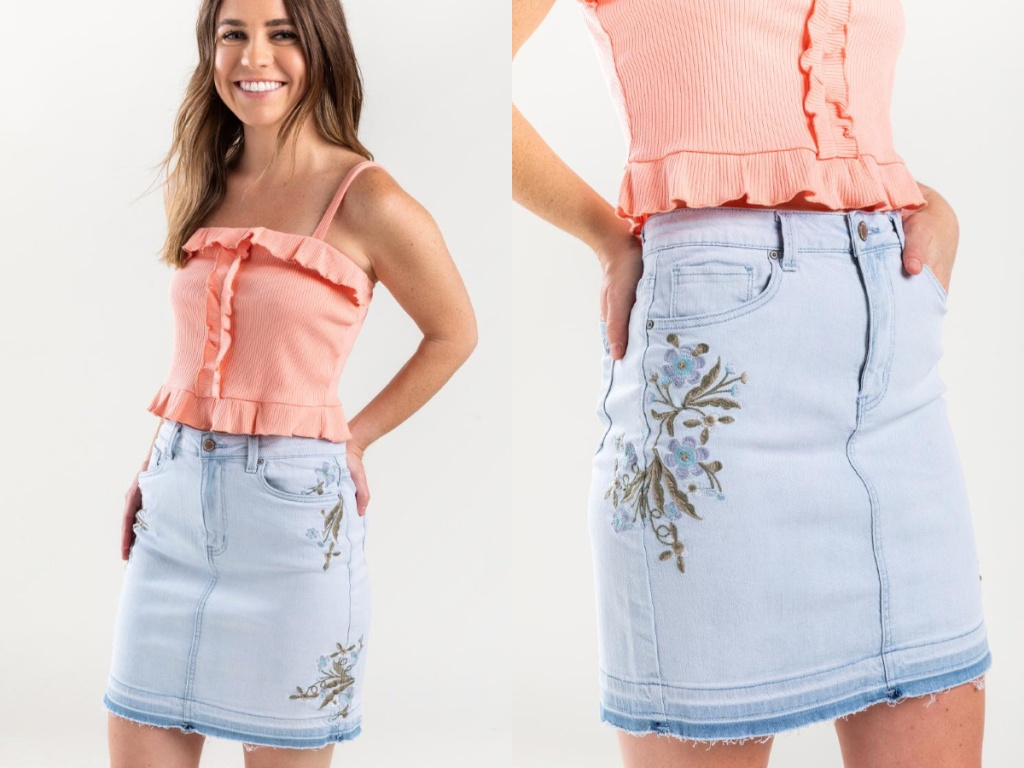 woman wearing Mandee Embroidered Denim Skirt