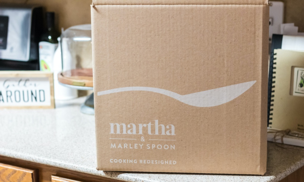 Martha Marley Spoon meal delivery box on kitchen counter