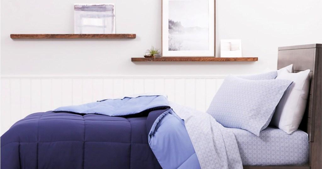 Martha Stewart Essentials Reversible Down Alternative Comforter on bed