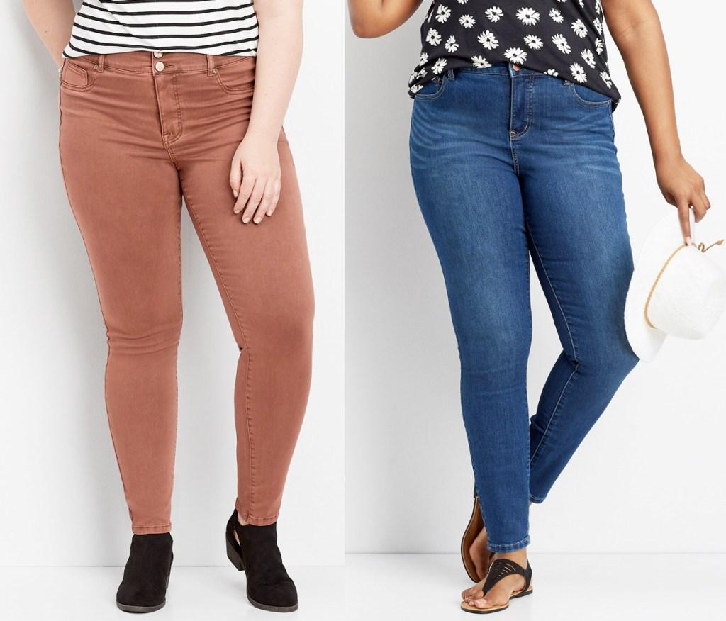 two women modeling jeans in tan and dark denim wash