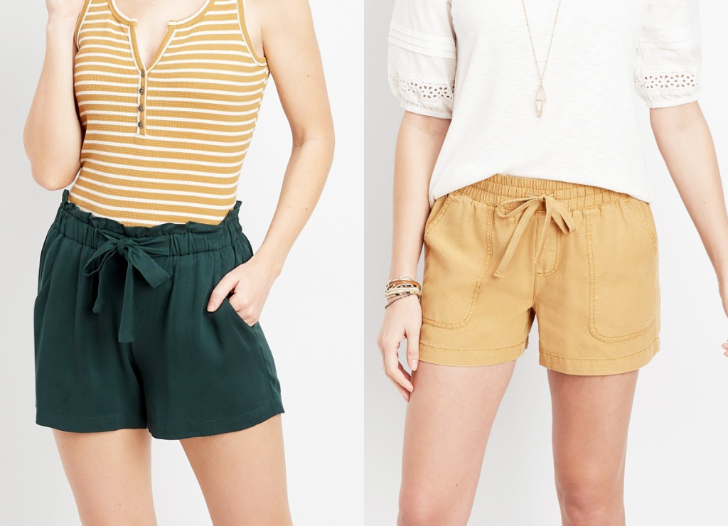two women modeling shorts in dark green and yellow