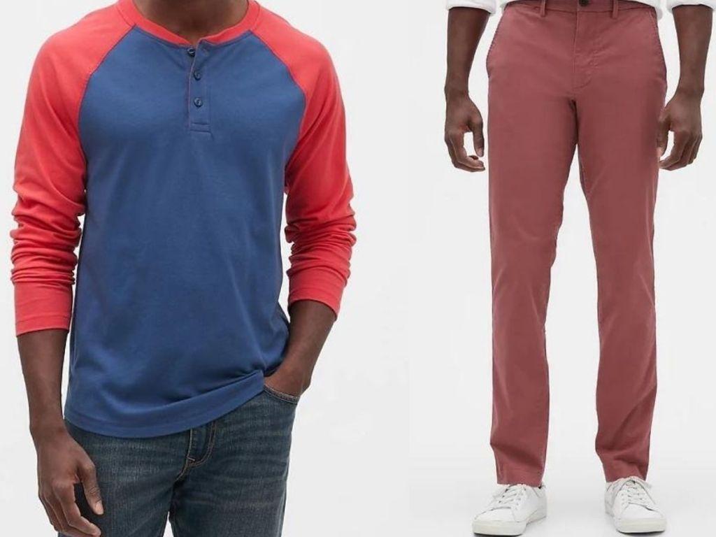 man wearing henley shirt and khaki pants