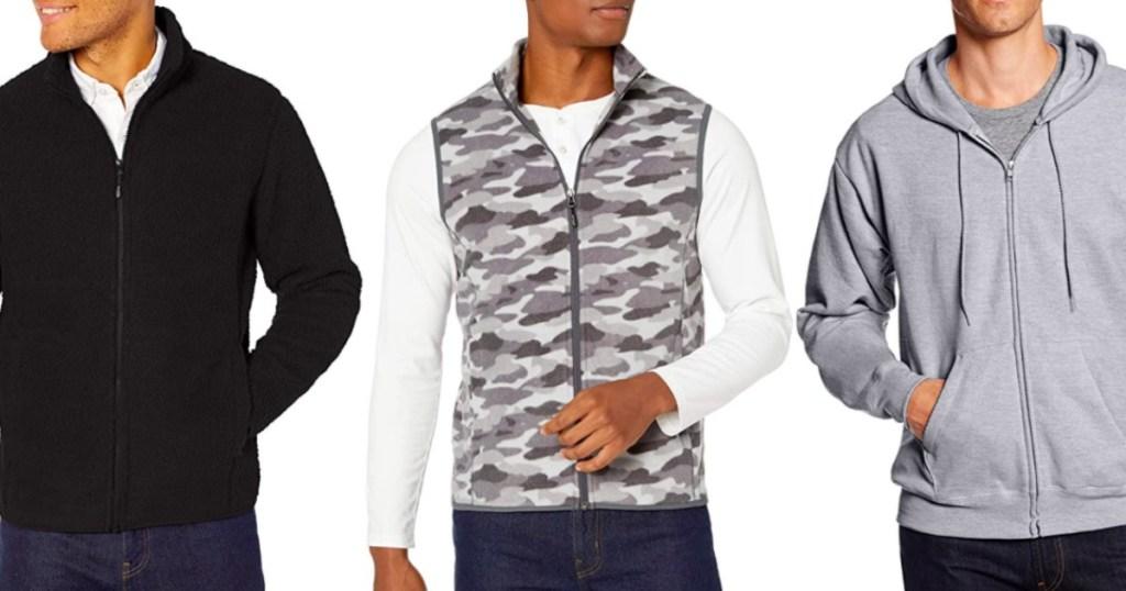 three men weating winter gear - vests, hoodies & more