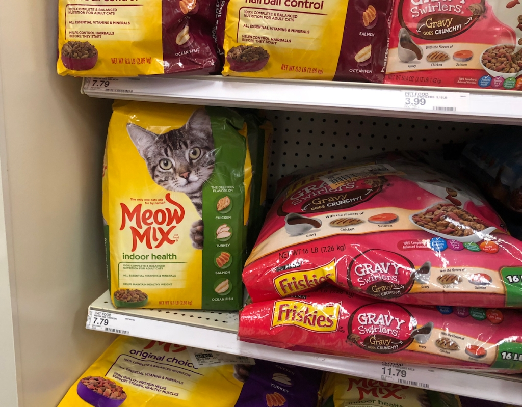 Meow Mix cat food on shelf at Target