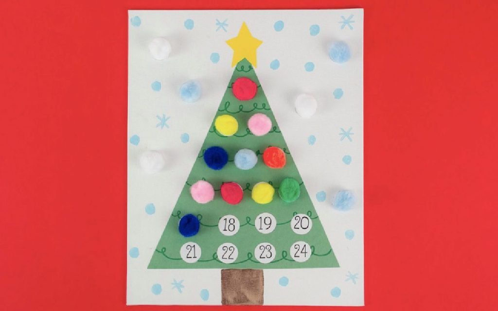 Christmas tree drawing with pom-poms