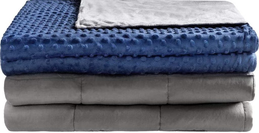 stack of folded blankets