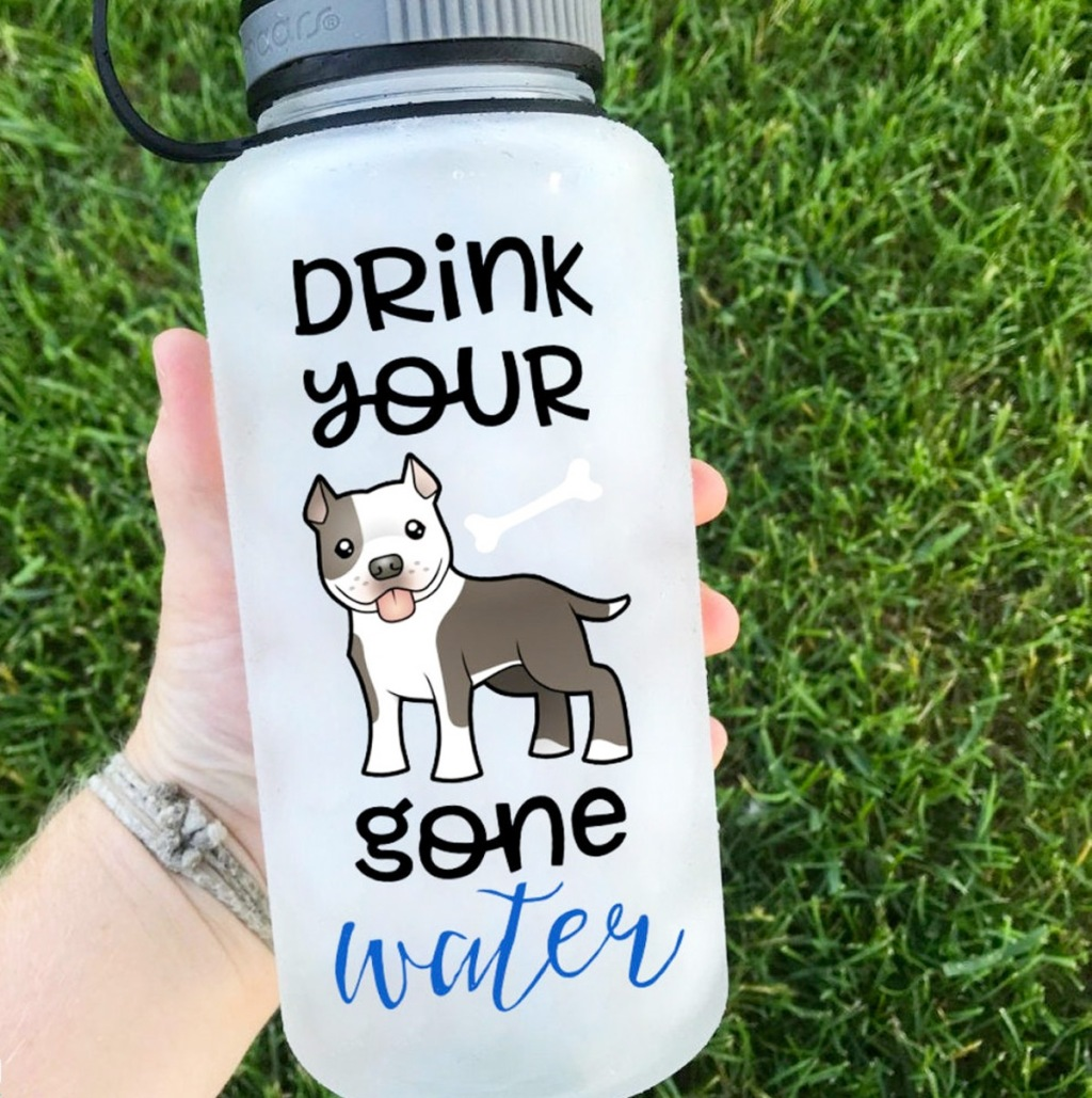 person holding clear water bottle with motivational dog vinyl