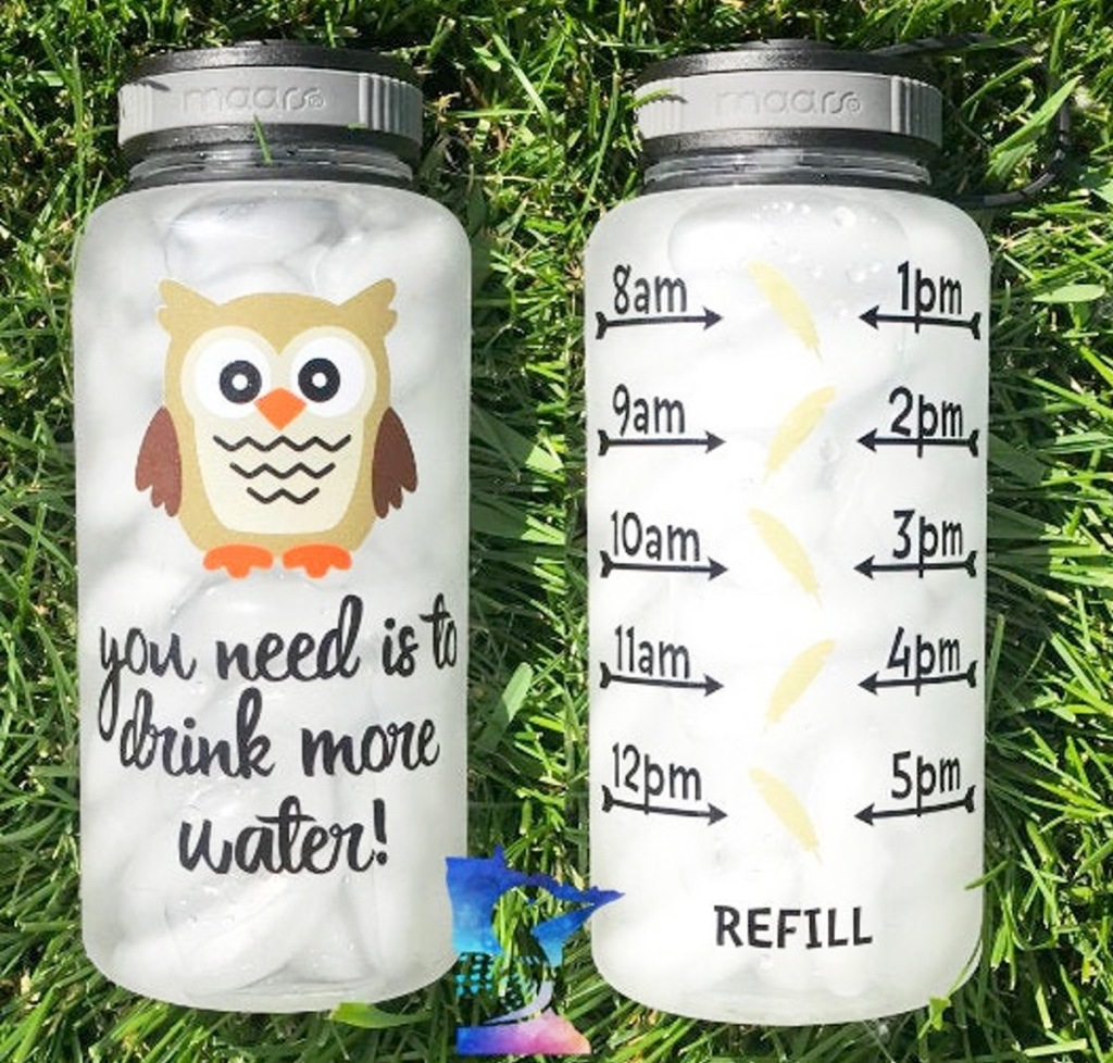 front and back view of an owl themed water tracker bottle