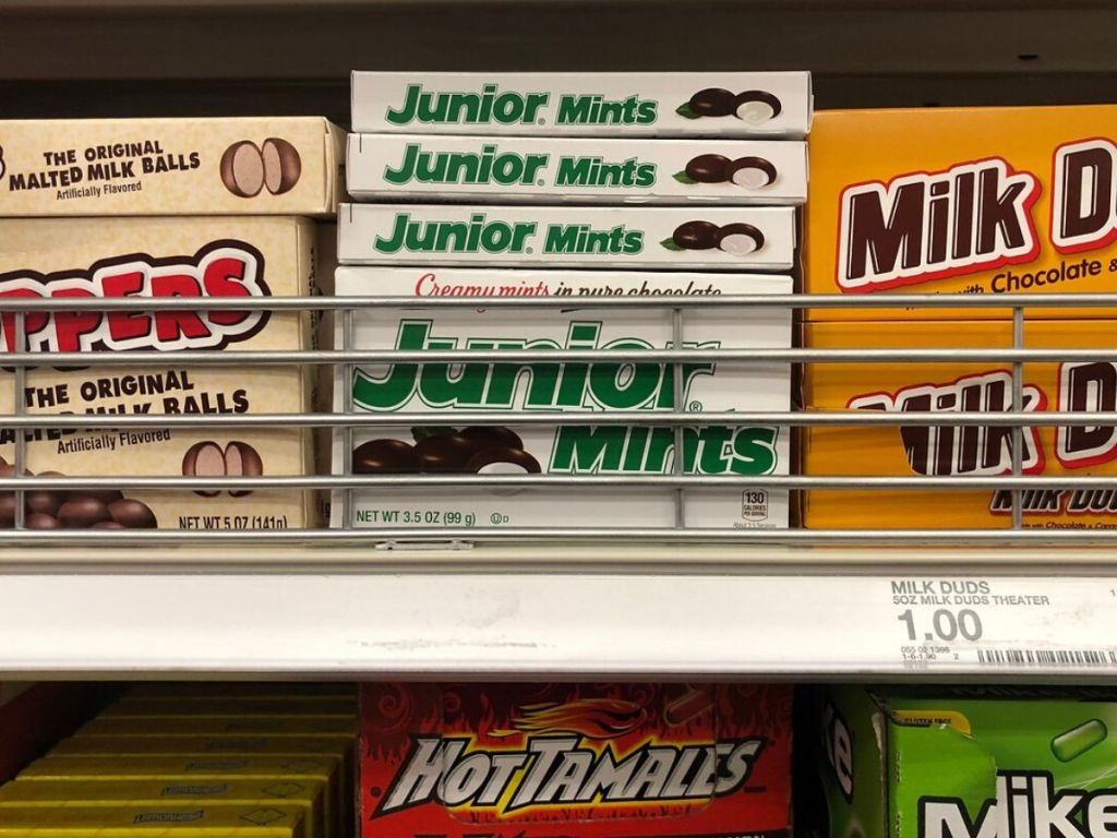 boxes of movie theater candy on store shelf