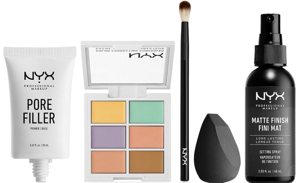 NYX pore filler, palette, brush and spray