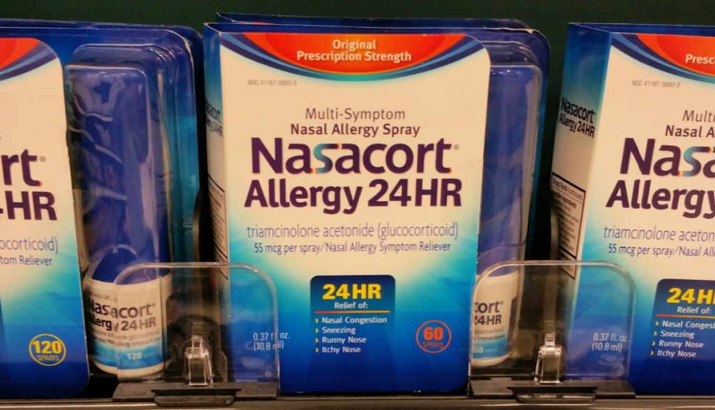 Nasacort allergy 24 hr spray on shelf in store