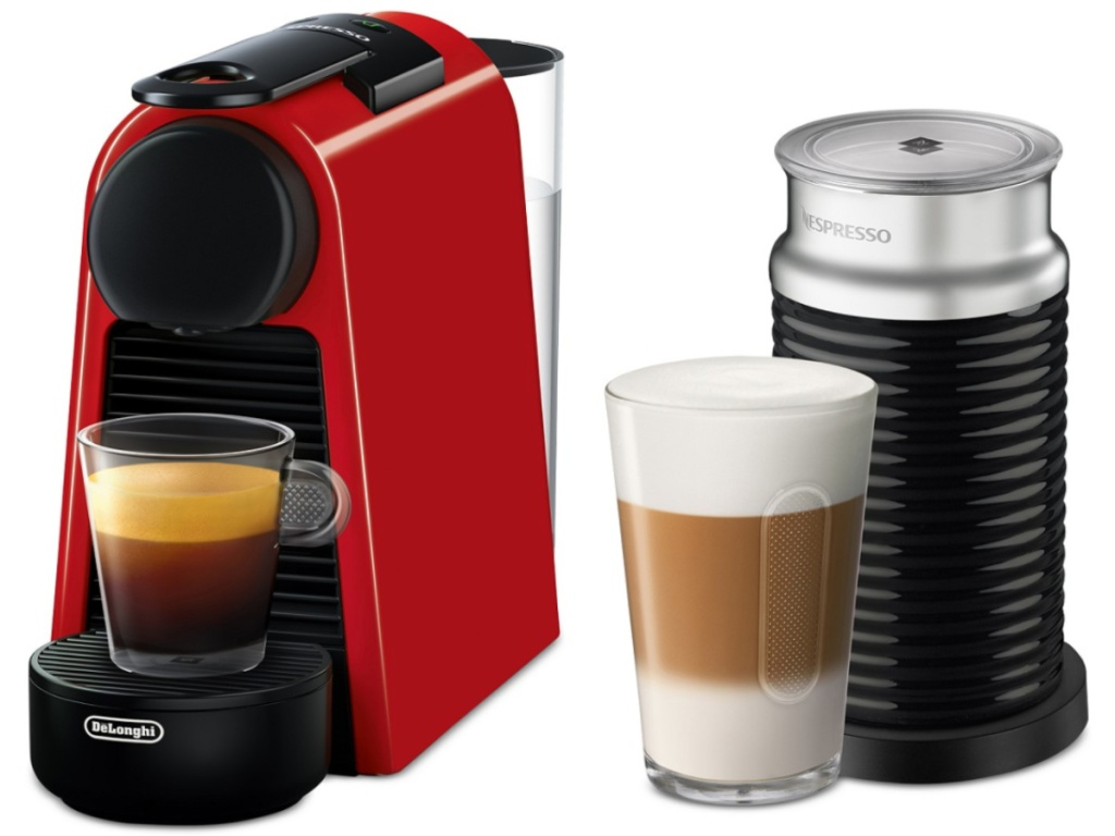 Nespresso Red Espresso Machine with cups