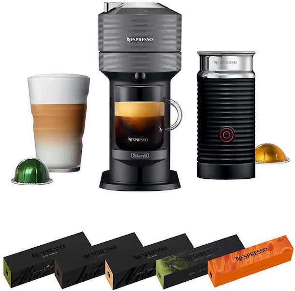 nespresso next maker with frother and multiple pods
