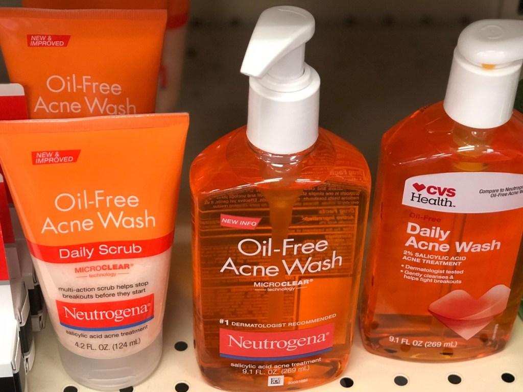 various bottles of face wash on store shelf