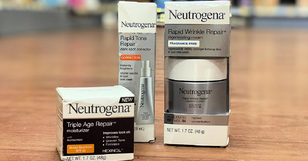 Neutrogena Repair products on floor