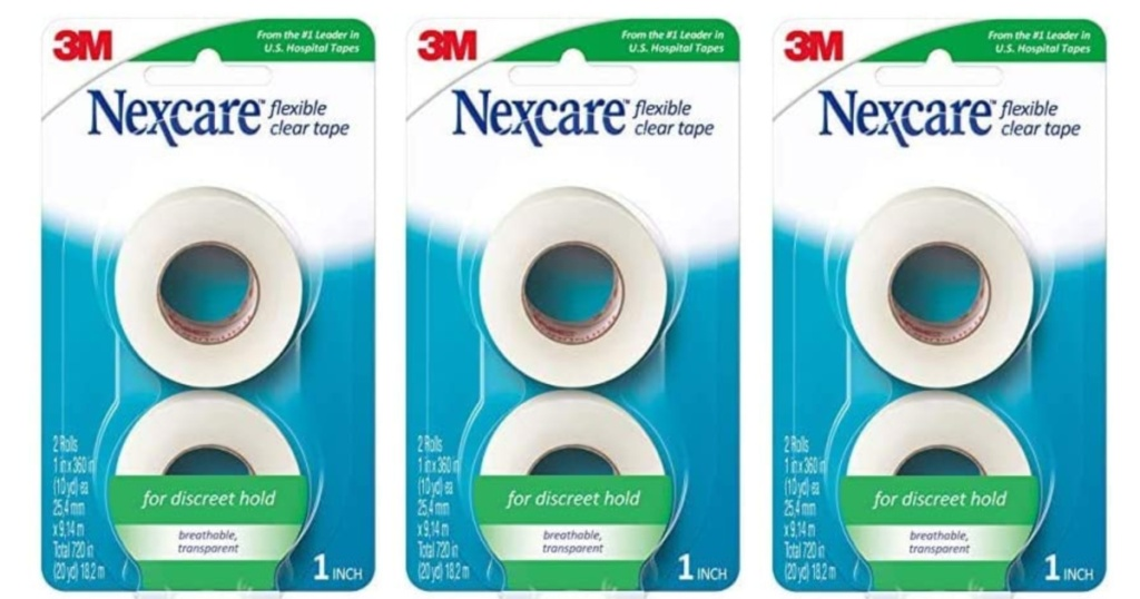 3 packages of nexcare clear tape lined up next to each other