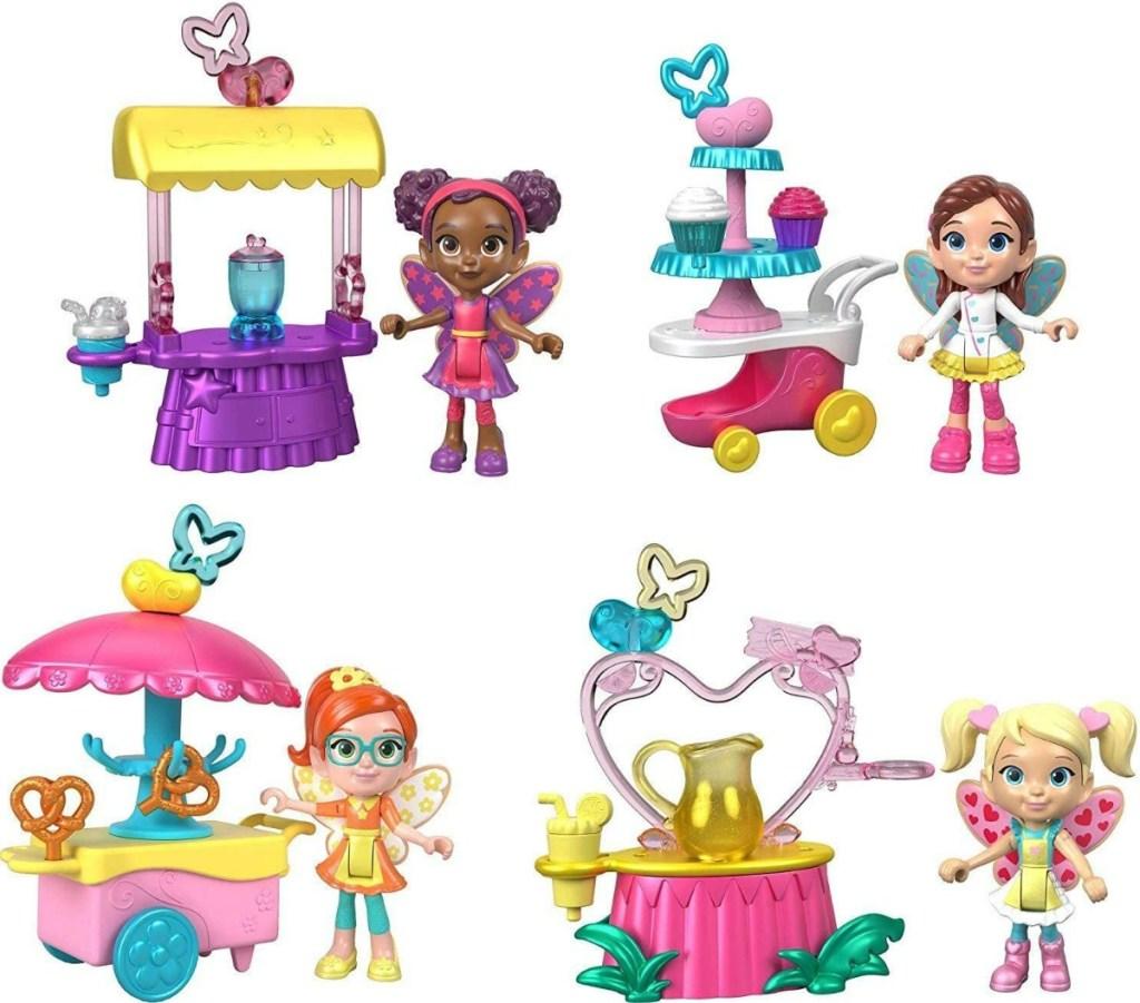 Playset of fairies and their tea carts