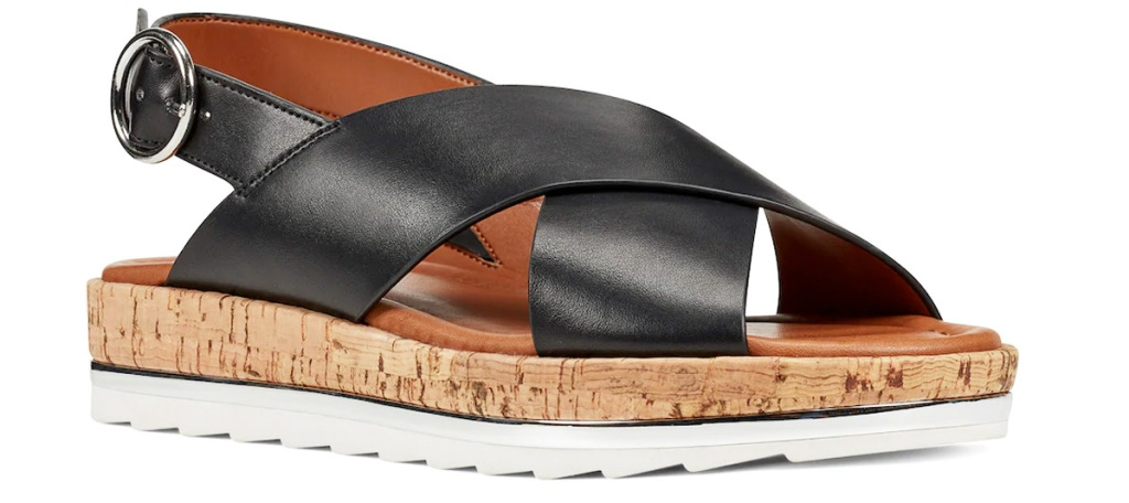 black leather sandal with cork and white rubber sole