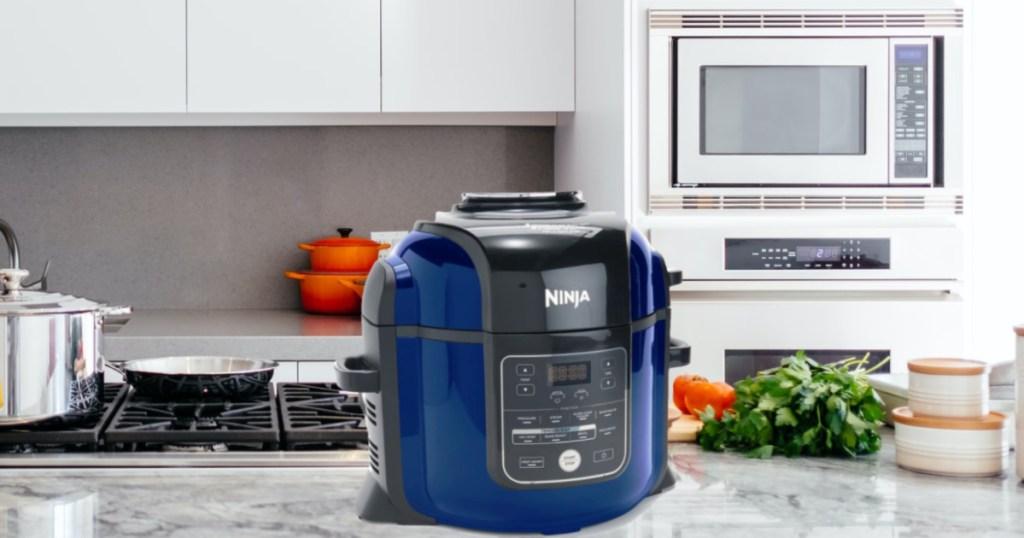 blue kitchen appliance on counter in kitchen