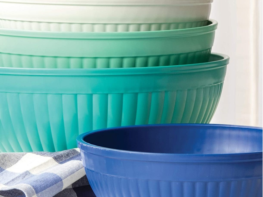 white green and blue bowls stacked