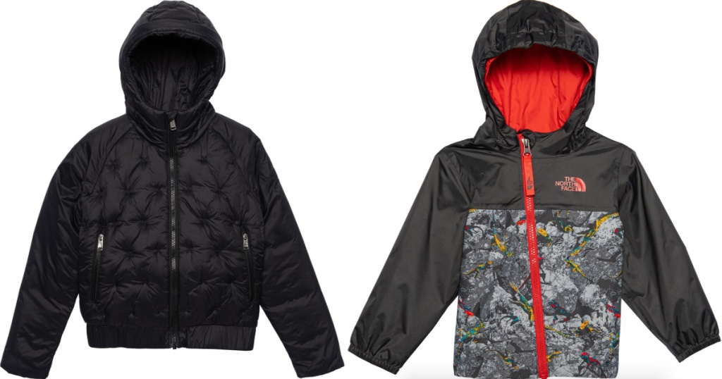 two children's the north face jackets with hoods
