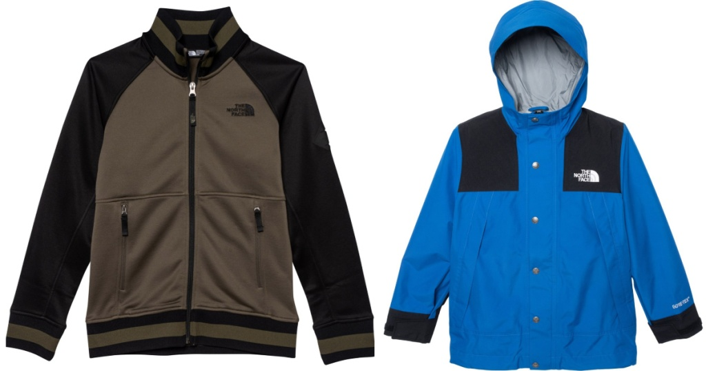 two children's north face jackets sitting side by side