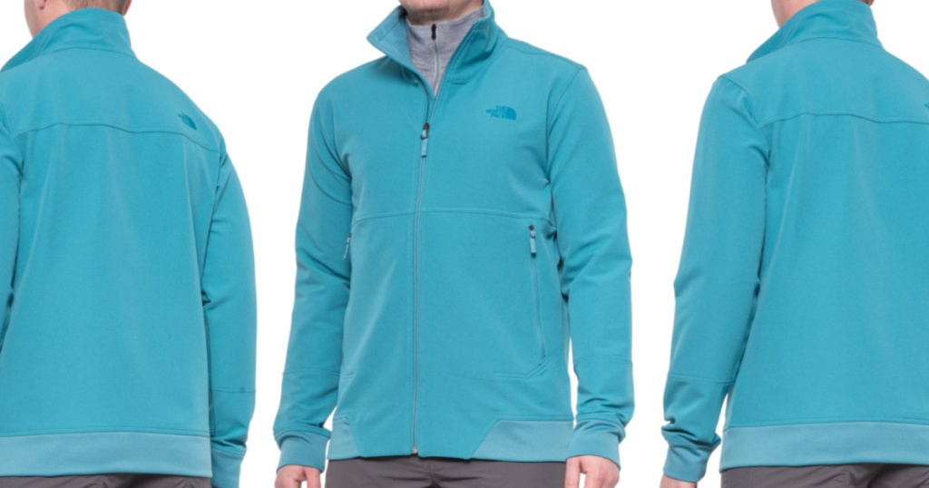 face facing front and back wearing a light teal full zip jacket