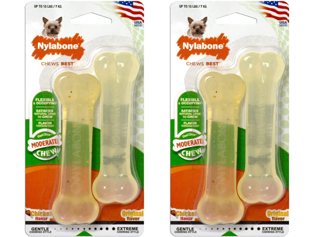 two packs of dog bone chew toys