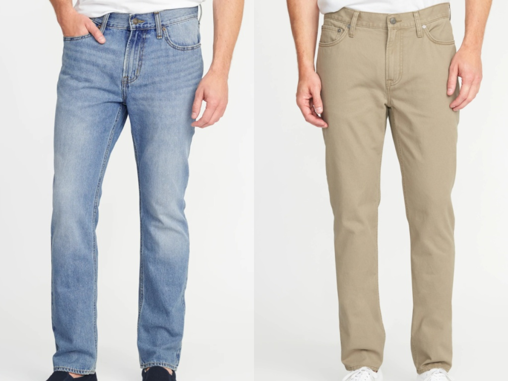 2 men wearing a pair of jeans and a pair of tan colored jeans