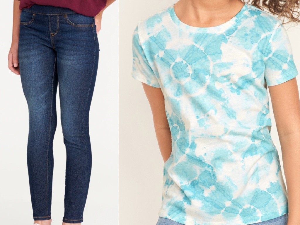 2 girls - one wearing skinny jeans and the other wearing a tie dye tee