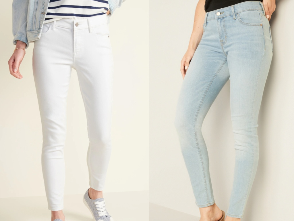 2 women wearing white skinny jeand and blue skinny jeans