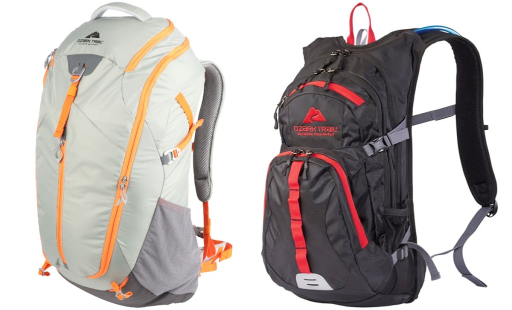 waterproof grey backpack with orange zippers and black waterproof backpack with red zippers