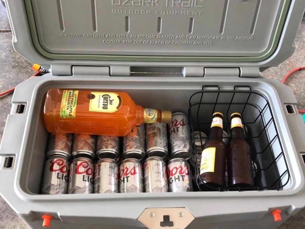open cooler with beer and tequila mix