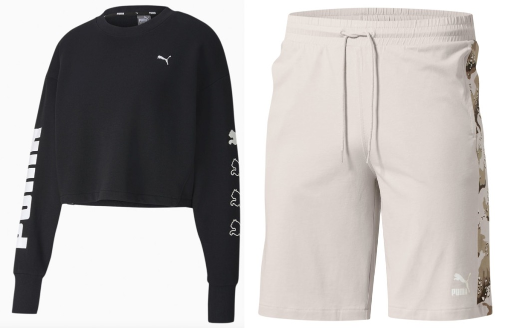 womens black cropped sweater with puma logo on sleeves and sand colored mens drawstring shorts