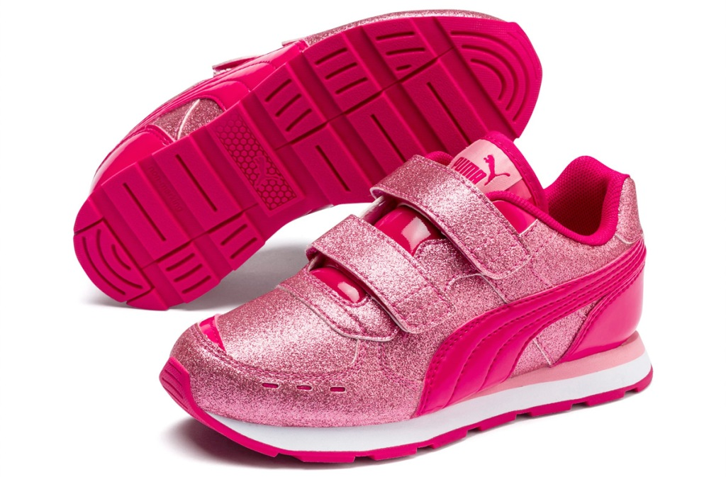 pink glitter girls shoes with two velcro straps