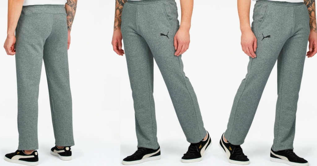 three images of a person wearing PUMA Sweatpants