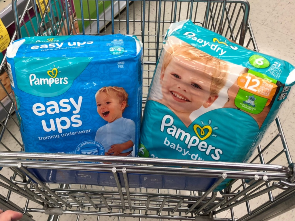 pampers diapers sitting in store shopping cart