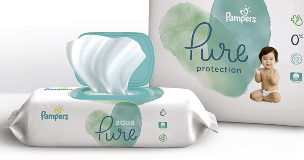 Pampers Pure Wipes next to diapers package