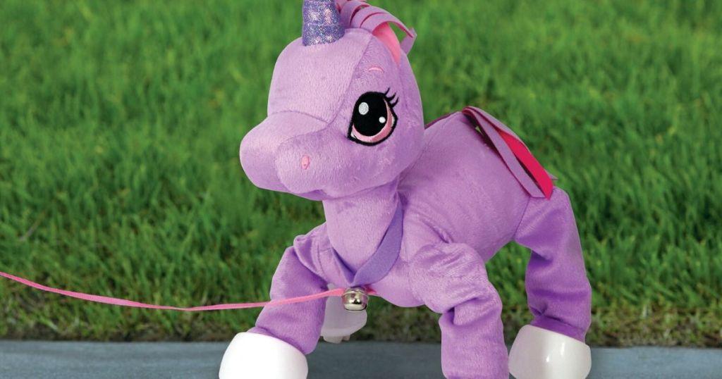 walking plush unicorn toy with leash