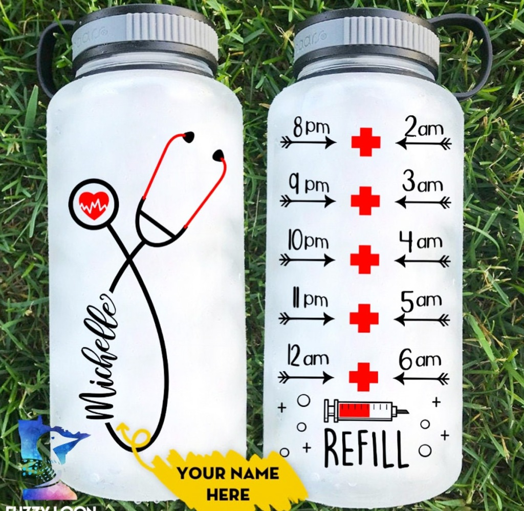 front and back view of a personalized nurse themed water tracker bottle