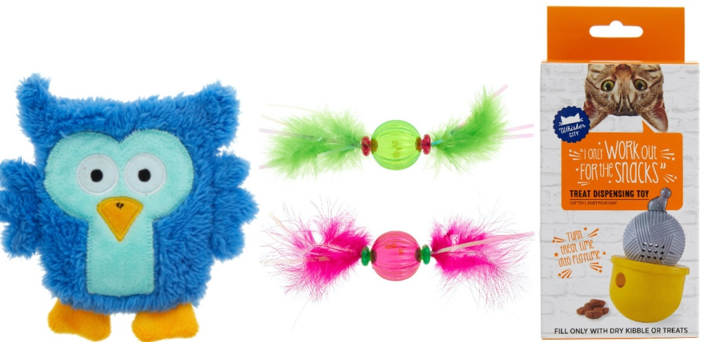 dog toy and three cat toys