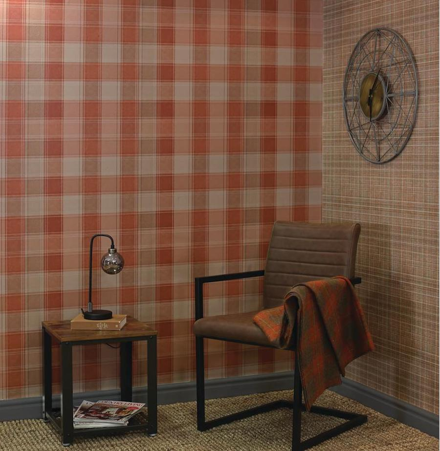 Plaid Wallpaper in study