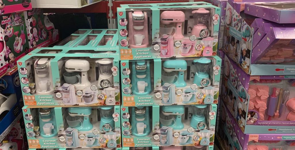 pile of pink, white, and blue Playgo Gourmet Kitchen Appliance Set