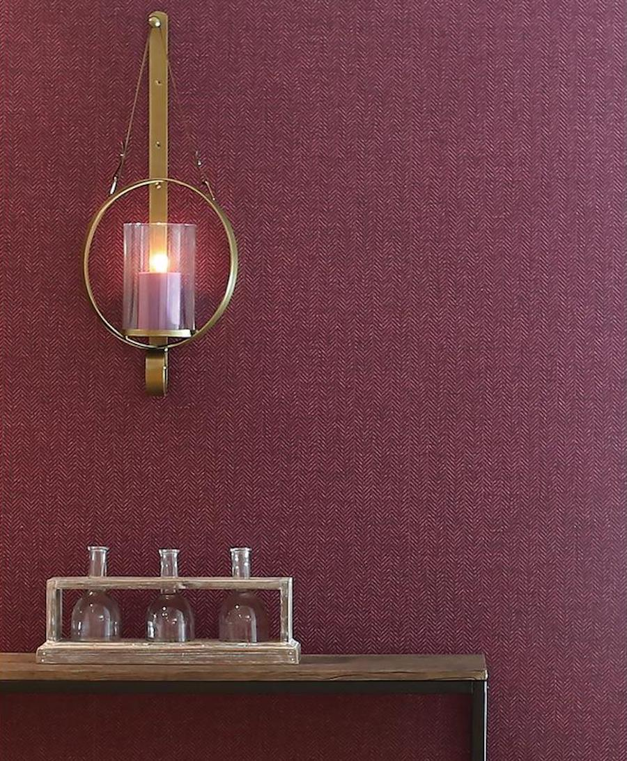 Plum wallpaper on foyer wall
