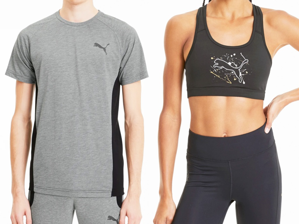 man in grey shirt with black puma logo and woman in black sports bra with puma graphic