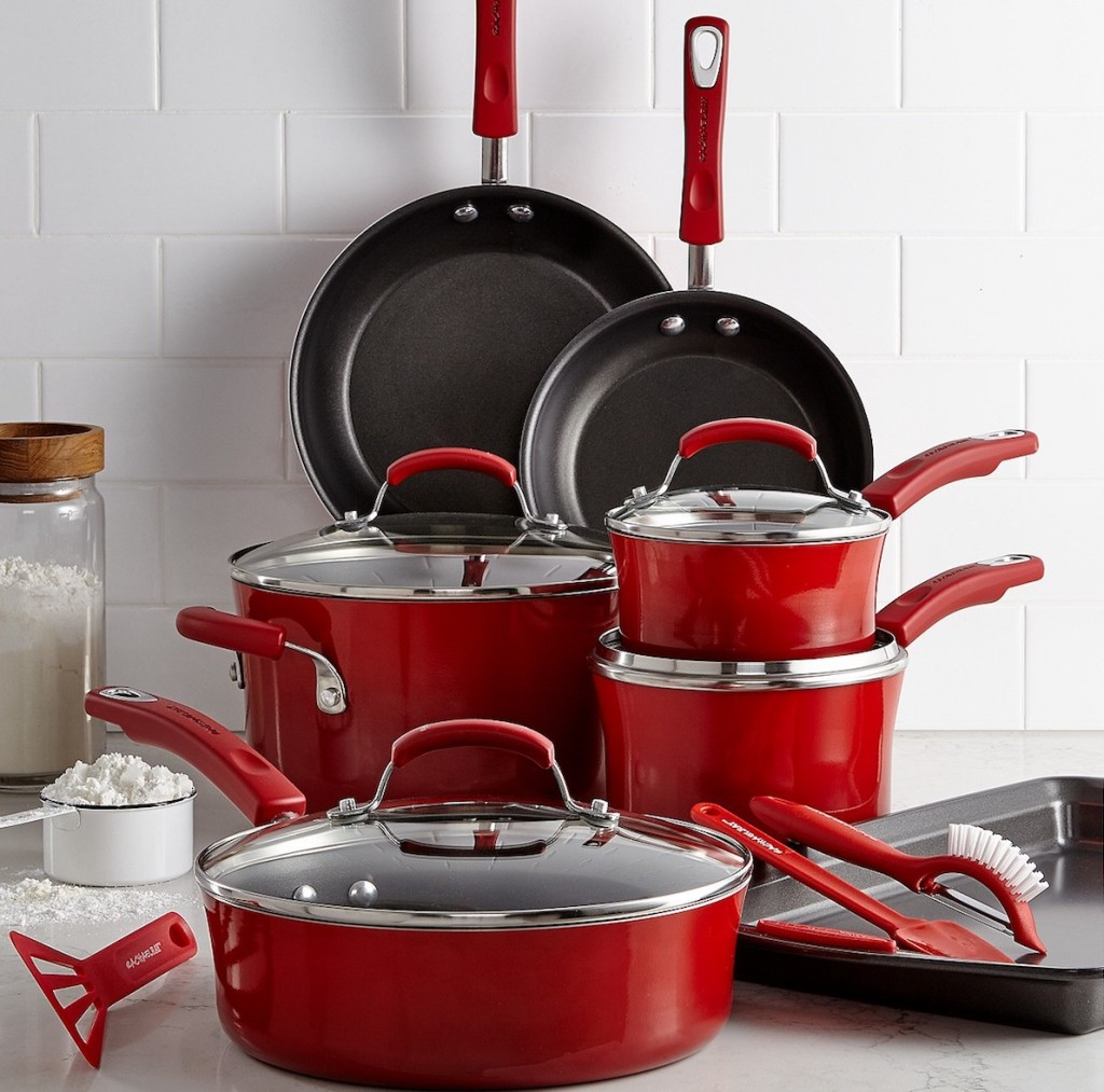 Rachael Ray Cookware Set on counter