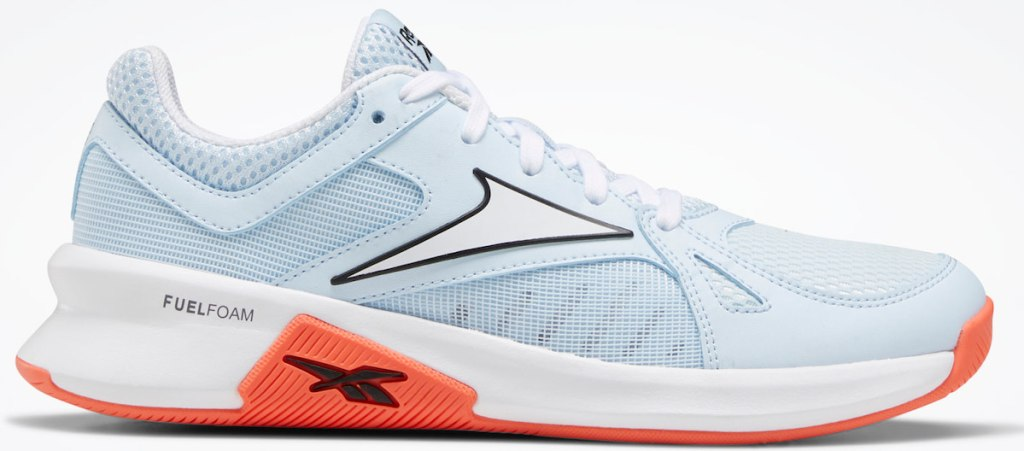 woman pair of reebok shoes in light blue, white and orange